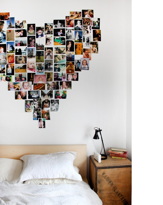 heart shaped polaroid collage